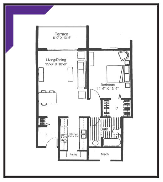 ONE BEDROOM - Type 1 Apartment