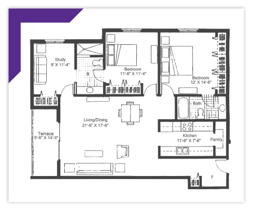 Two Bedroom with Study - Type 5 Apartment
