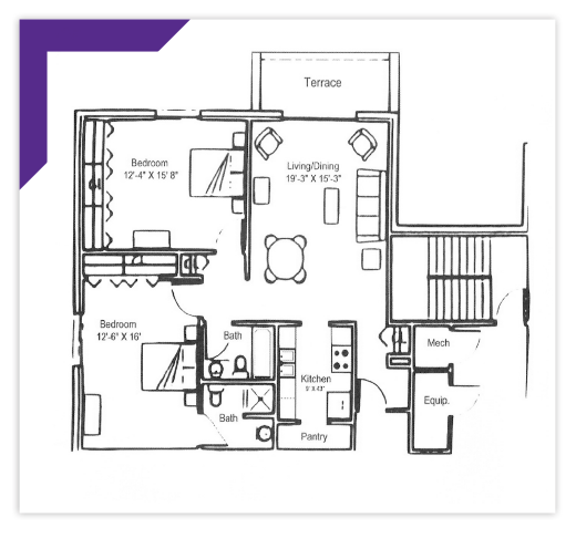 Two Bedroom - Type E-6 Apartment