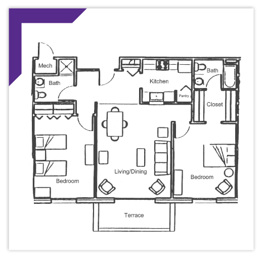 Two Bedroom - Type E-7 Apartment